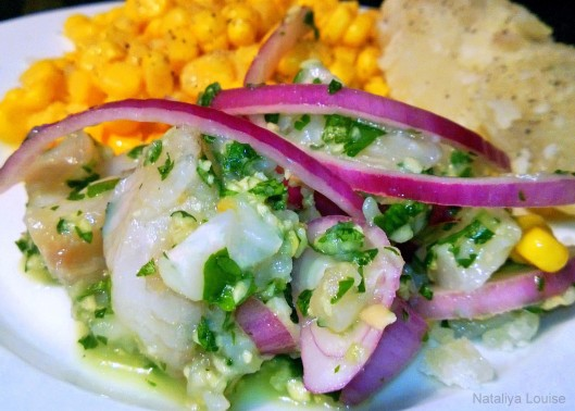 Our trial ceviche, with sweet corn and boiled potatoes – it tasted ...