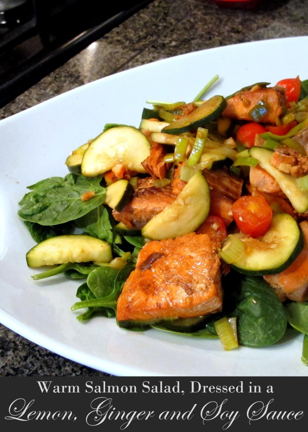 Warm Salmon Salad Dressed in Lemon, Ginger and Soy Sauce - Low FODMAP, Fructose Friendly & Gluten Free 1