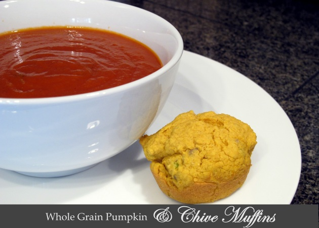 Whole Grain Pumpkin and Chive Muffins