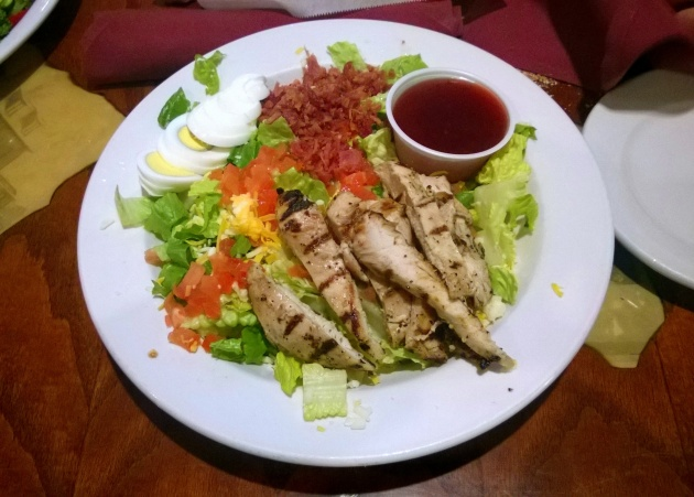Dinner - a chicken salad sans croutons and dressing on the side.