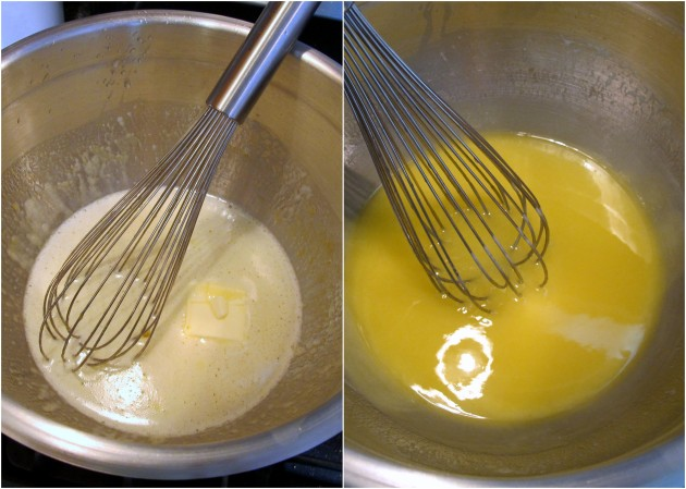 Lemon butter, before and after double-boiling