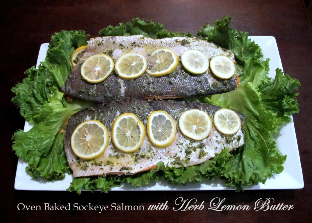 Oven Baked Sockeye Salmon with Herb Lemon Butter - Low FODMAP, Fructose Friendly, Gluten Free & Paleo