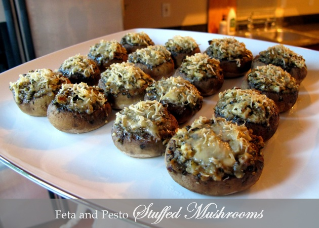 Feta and Pesto Stuffed Mushrooms - Fructose Friendly, Gluten Free and Vegetarian