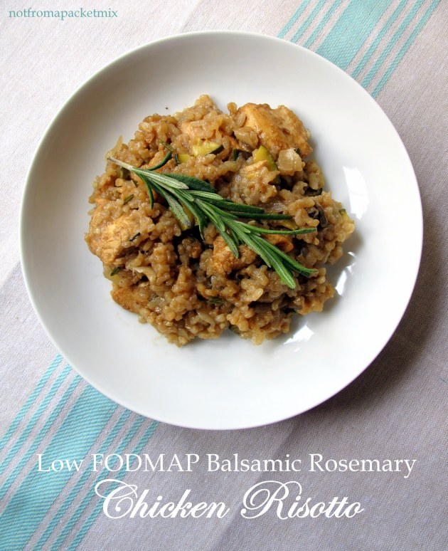 Balsamic Rosemary Chicken Risotto - low FODMAP, fructose friendly, gluten free and lactose free