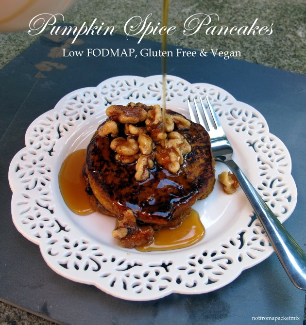 Pumpkin Spice Pancakes - Low FODMAP, Gluten Free, Egg Free, Dairy Free and Vegan