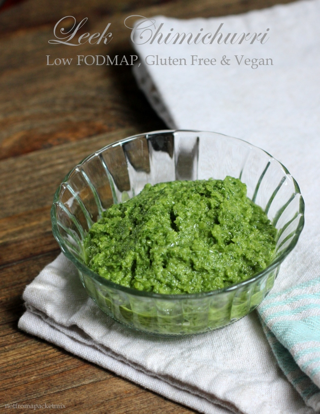 Leek Chimichurri - Low FODMAP, Gluten Free and Vegan, fructose malabsorption, irritable bowel syndrome, healthy, low carb