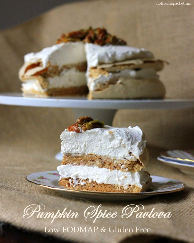 Pumpkin Spice Pavlova with Candied Pecans and Pepitas - Low FODMAP, Gluten Free and perfect for Thanksgiving